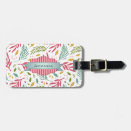 Summery Scattered Leaf Pattern ID387 Luggage Tag