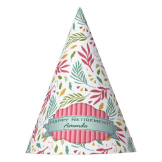Summery Scattered Leaf Pattern ID387 Party Hat
