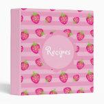 Summery Strawberry Recipe 3 Ring Binder
