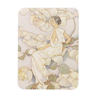 Summery Vintage Blossoming Roses Garden Beauty Rectangular Magnet