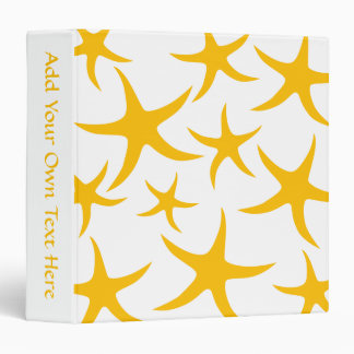 Summery Yellowy-Orange Starfish Pattern. Binder