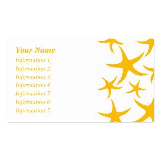 Summery Yellowy-Orange Starfish Pattern. Business Card Templates