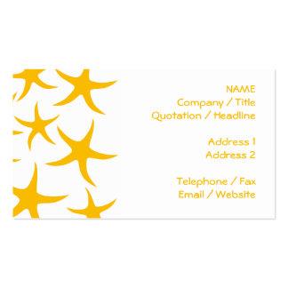 Summery Yellowy-Orange Starfish Pattern. Business Card Template