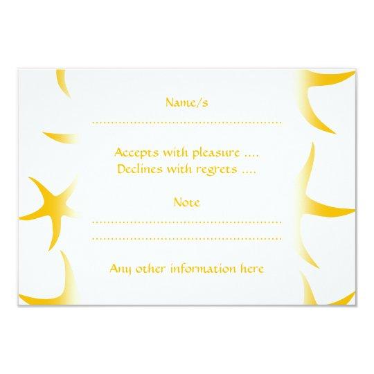 Summery Yellowy-Orange Starfish Pattern. Card