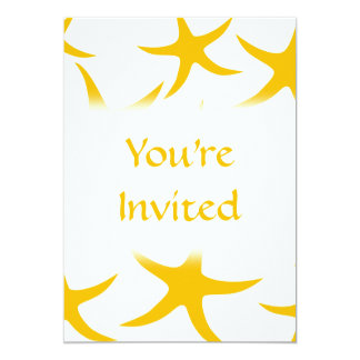 Summery Yellowy-Orange Starfish Pattern. 5x7 Paper Invitation Card