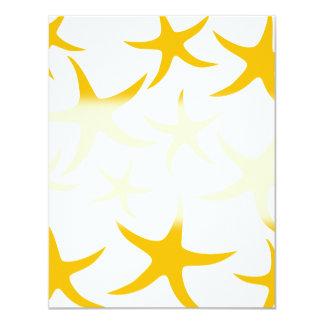 Summery Yellowy-Orange Starfish Pattern. 4.25x5.5 Paper Invitation Card