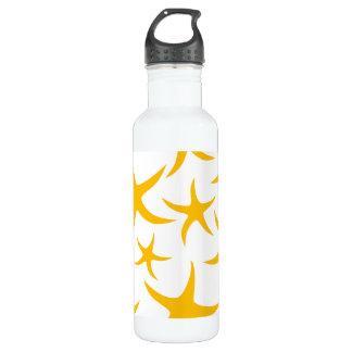 Summery Yellowy-Orange Starfish Pattern. Water Bottle