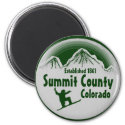 Summit County Colorado green snowboard art magnet