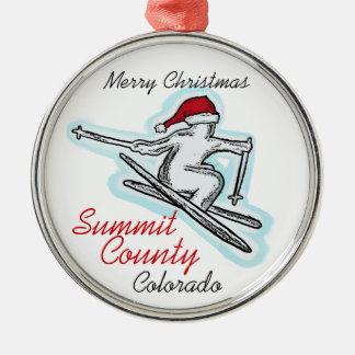 Summit County Colorado santa skier hat ornament