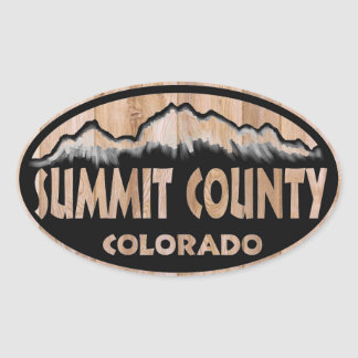 Summit County Colorado wood sign oval stickers