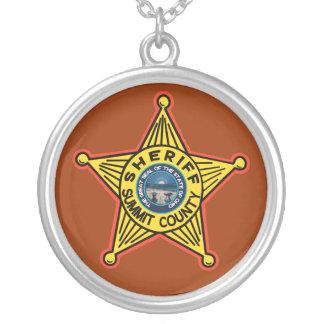 Summit County Ohio Sheriff Necklace. Round Pendant Necklace