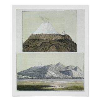 Summit of Cotopaxi (top), and the eruption of Coto Poster