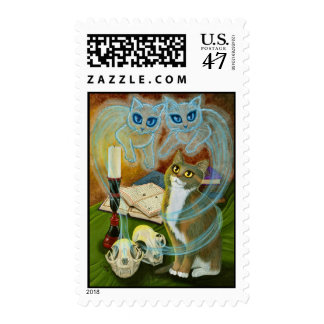 Summoning Old Freinds, Ghost Cats Art Postage