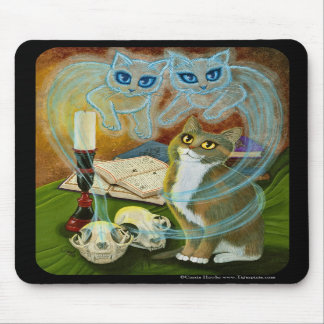 Summoning Old Friends Ghost Cat Art Mousepad
