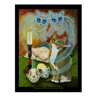 Summoning Old Friends, Ghost Cat Art Postcard