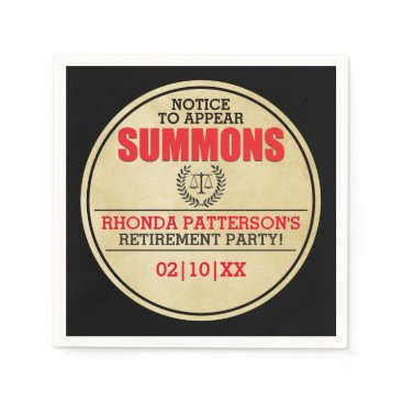 Lawyer Themed Summons Retirement Party Paper Napkin