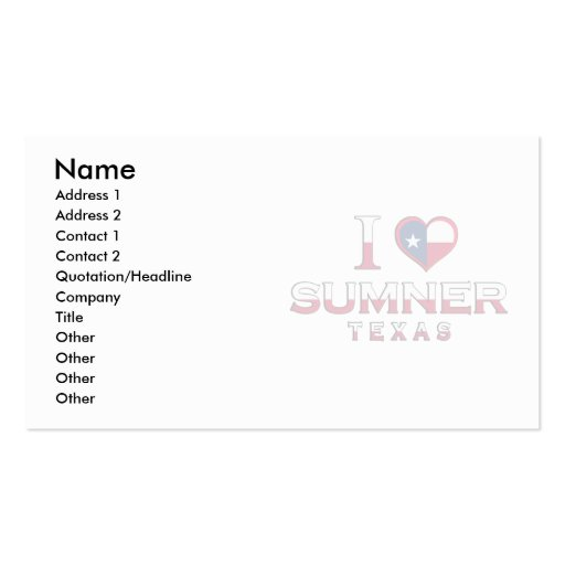 Sumner, Texas Double-Sided Standard Business Cards (Pack Of 100)