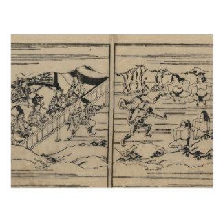 Sumo circa 1600s Japan Postcard