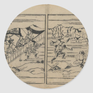 Sumo circa 1600s Japan Round Sticker
