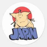 Sumo de Japón Etiquetas Redondas