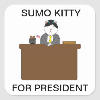 Sumo Kitty For President Sticker