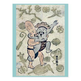 Sumo match by Utagawa,Toyokuni Postcard