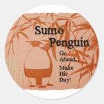 Sumo Penguin Classic Round Sticker