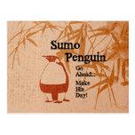 Sumo Penguin Postcard