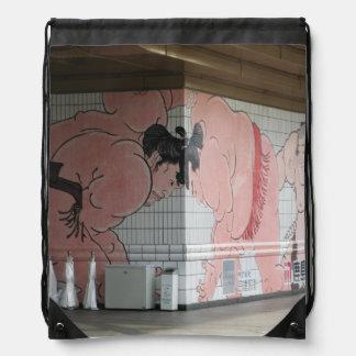Sumo Wall Art Drawstring Bag