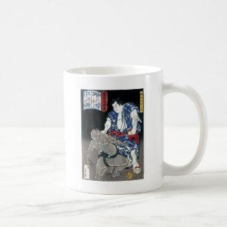 Sumo wrestler choking an enemy c. 1867 coffee mug
