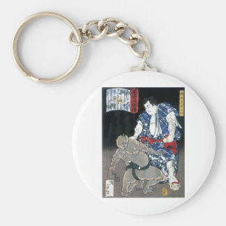 Sumo wrestler choking an enemy c. 1867 keychain