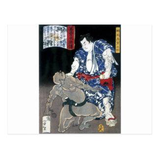 Sumo wrestler choking an enemy c. 1867 post card