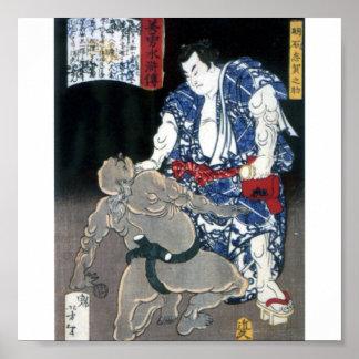 Sumo wrestler choking an enemy c. 1867 poster