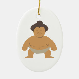 Sumo Wrestler Double-Sided Oval Ceramic Christmas Ornament