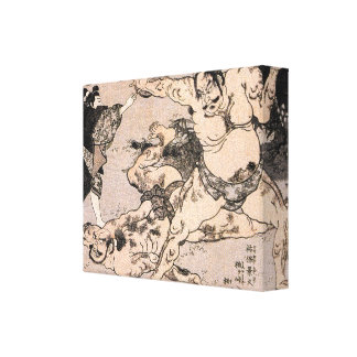 Sumo Wrestlers, Circa 1800s Japan Painting Canvas Print