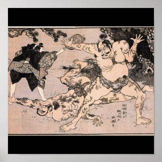 Sumo Wrestlers, Circa 1800's. Japan Poster