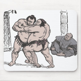 Sumo Wrestlers Mouse Pad
