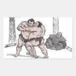Sumo Wrestlers Rectangular Sticker