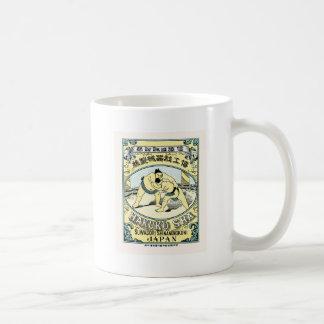 Sumo Wrestlers ~ Vintage Japanese Silk Label Coffee Mug
