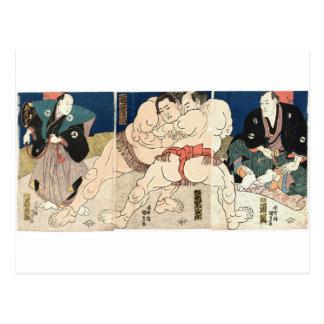 Sumo Wrestling 1860 Postcard