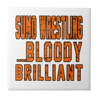 Sumo Wrestling Bloody Brilliant Small Square Tile