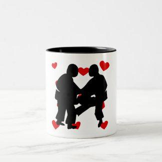 Sumo Wrestling Hearts Coffee Mugs