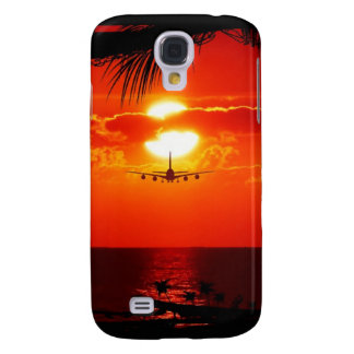 sun-251455 sun sunset jet plane tropical red black samsung galaxy s4 cases