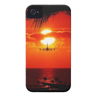sun-251455 sun sunset jet plane tropical red black iPhone 4 Case-Mate case