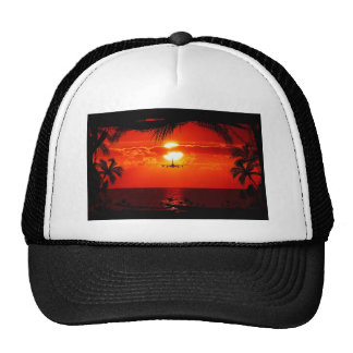 sun-251455 sun sunset jet plane tropical red black mesh hats