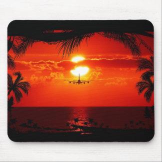 sun-251455 sun sunset jet plane tropical red black mouse pad