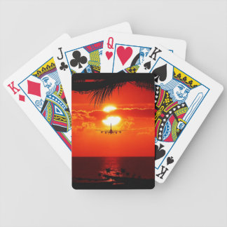 sun-251455 sun sunset jet plane tropical red black playing cards