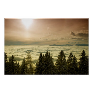 Sun above clouds poster
