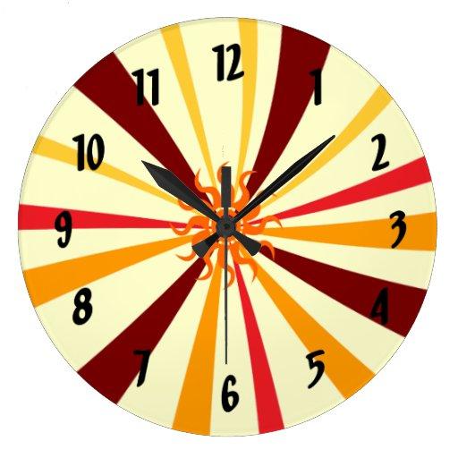Sun abstracto reloj redondo grande