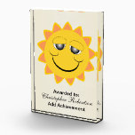 """Sun Achievement Acrylic Award<br><div class=""""desc"""">Sunshine Award. This fun sunshine design makes a great gift for any sun lover.  Customizable with any text of your choice. Design &#169; www.justbyjulie.com</div>"""